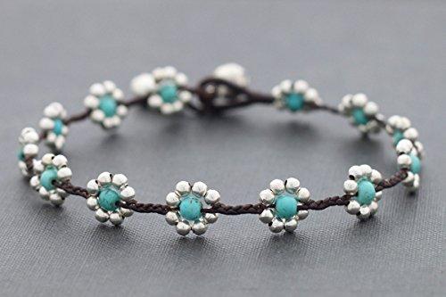 - Daisy Turquoise Silver Anklets Woven Beaded Anklets Folk Boho Bohemian Yoga Flower