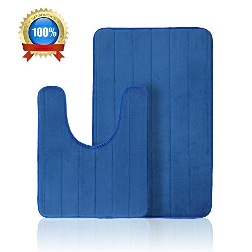 Bath mat Sets Absorbent Memory Foam Bath Rugs Bath Contour mats Non Slip Toilet Bathmats Royal Blue