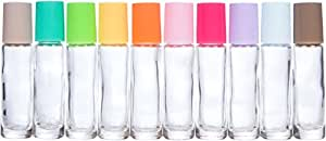 The Root and Petal Set of 10 Multicolored Glass Roller Bottles with Glass Balls for Essential Oils - The Happy Palette