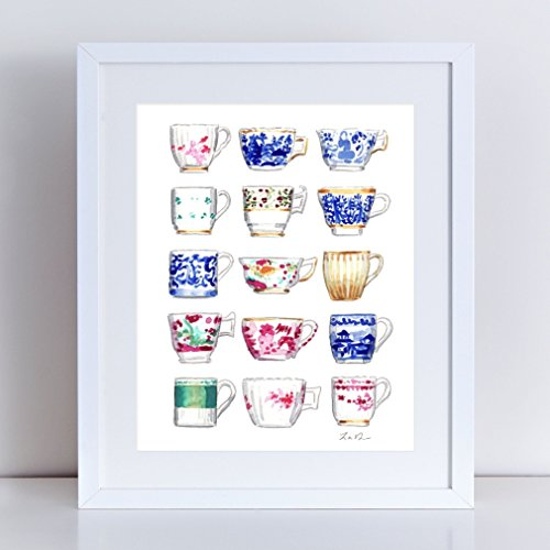 China Teacups Art Jewel Tone Painting Blue and White Teacups Chinoiserie Art Tea Party Decor Tea Party Gift Chinoiserie Watercolor Canvas (Valentino Vase)
