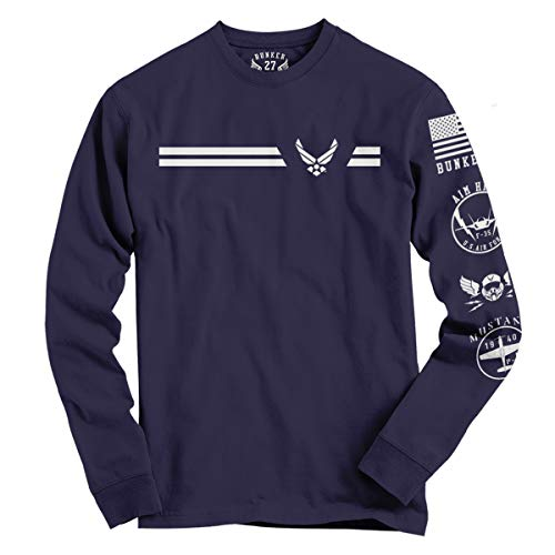 BUNKER 27 - Official U.S. Air Force Long Sleeve T-Shirt (X-Large) Navy