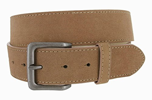 Square Buckle Casual Jean Suede Leather Belt for Women (Tan, 32)