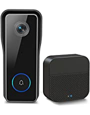 Wireless WiFi Video Doorbell Camera, XTU 1080P Doorbell Camera with Cordless Chime(Battery Included), Motion Detection, 2-Way Audio, Easy Installation, Cloud & Local Storage(Optional)
