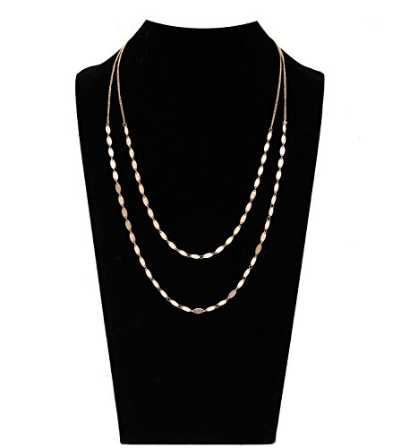 MOLOCH Layer Choker Necklace Flake Bib Necklaces for Women Girls Handmade Charm Chain Jewelry Necklace (Double Gold)