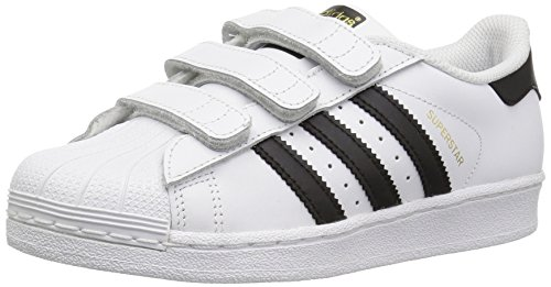 adidas Originals Unisex Superstar CF Running Shoe, Black/White, 2 M US Little Kid