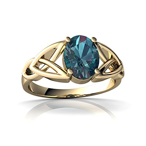 14kt Yellow Gold Lab Alexandrite 8x6mm Oval Celtic Trinity Knot Ring - Size 7