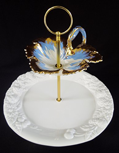 Two Tier Stand, Jewelry Stand, Vanity Tray, or Dessert, Appetizer, Tidbit. Vintage, Antique, Shabby Chic, Gold, Blue and White