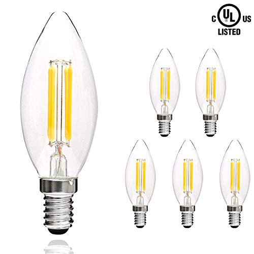 - Svater LED Filament Candle Clear Bulbs E12 LED Candelabra Bulbs 4W C32 Torpedo Shape 400LM 360 Grad Beam Angle Warm White 2700K Indoor&Outdoor Vintage Bulb 6 Pack