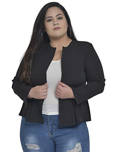 Martini Women Stylish Front Open Pleated Blazer (Black, Size : 2XL-6XL)