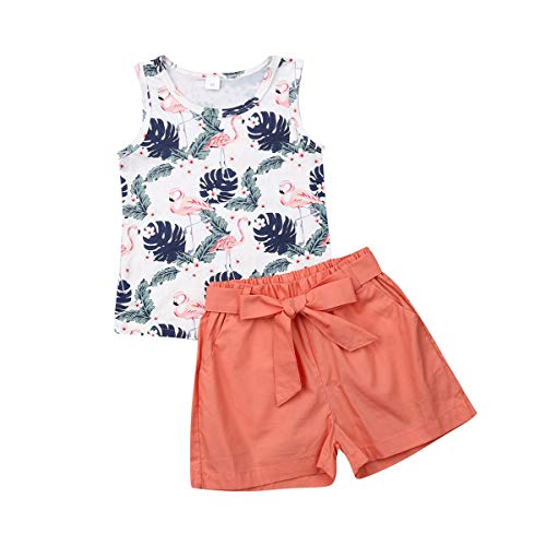 Toddler Baby Girl Flamingo Outfits Palm Print Vest Tank Top+Bows Waistband Shorts Pants Summer Outfits Set (Flomingos Brown, 4-5 Years) ()