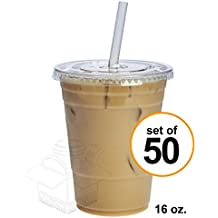 50 Sets 16 oz. Plastic CRYSTAL CLEAR Cups with Lids for Cold Drinks, Iced Coffee, Bubble Boba, Tea, Smoothie etc. (Flat Lids)