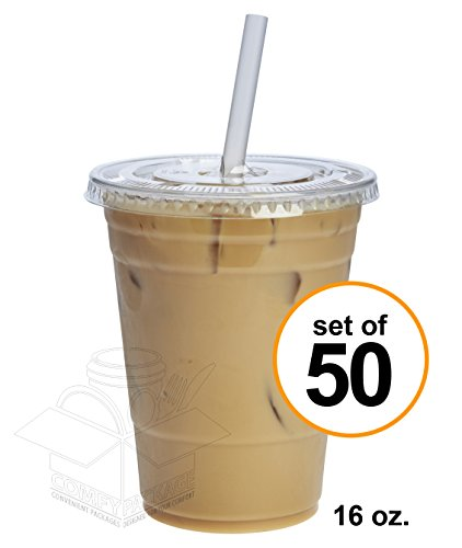 Clear Plastic Cups Lids - Comfy Package 50 Sets 16 oz. Plastic CRYSTAL CLEAR Cups with Lids for Cold Drinks, Iced Coffee, Bubble Boba, Tea, Smoothie etc. (Flat Lids)