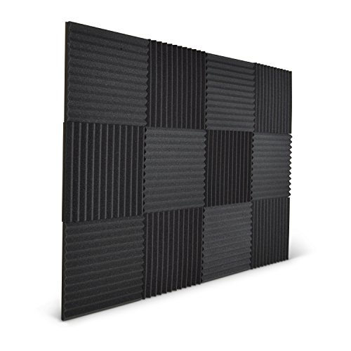 12 Pack - Acoustic Wedge Foam Studio Panels - 1' x 12' x 12' - FREE Adhesive Squares for Installation