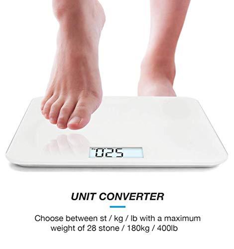 Ultra Slim Digital Bathroom Scales with High Precision Sensors//Kitchen Scale Stone//kgs//lbs Gloss White