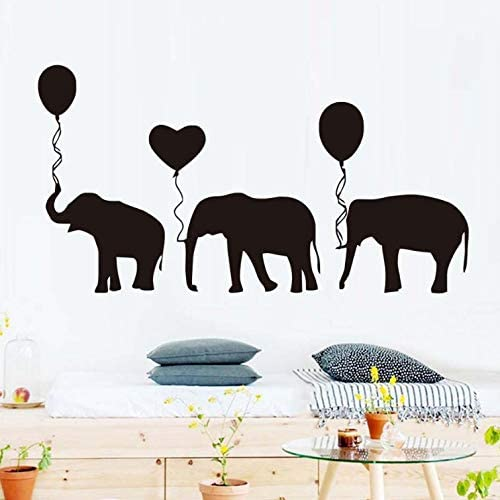 Personnalisé Bébé éléphant Autocollant Mural Ballons Pépinière Autocollants Chambre à Coucher Art Kids