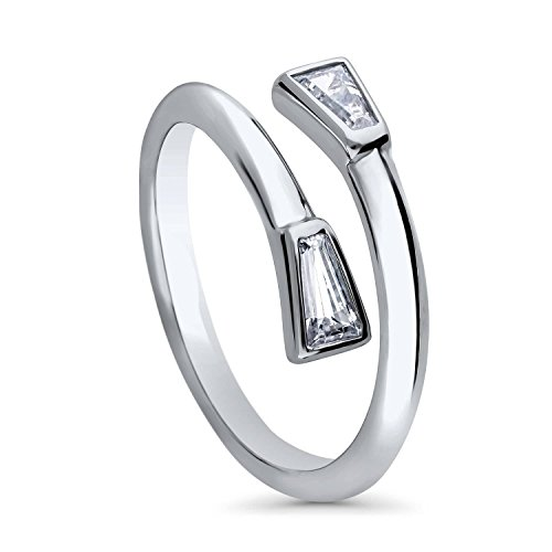 BERRICLE Rhodium Plated Sterling Silver Cubic Zirconia CZ Bypass Wrap Fashion Ring Size 6