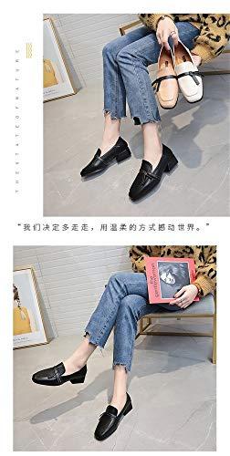 Tête Avec Simples Une Femme Paresseux Bas Sauvages Carrée Arc Petites Printemps Épaisse Noir Mocassins Chaussures IxqwpZqz