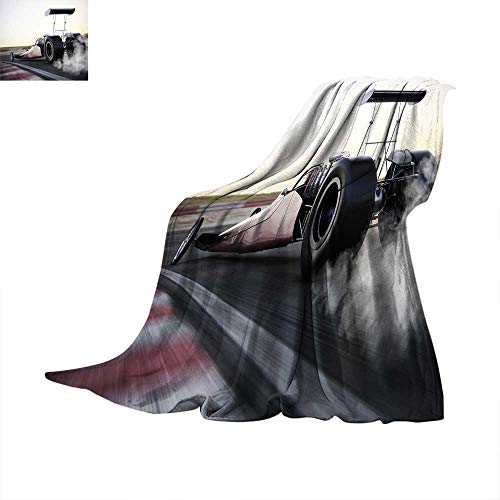 Cars Super Soft Thicken Blanket Dragster Racing Down The Track with Burnout Competition Speed Sports Technology Oversized Travel Throw Cover Blanket 50 x 30 inch Grey Black White