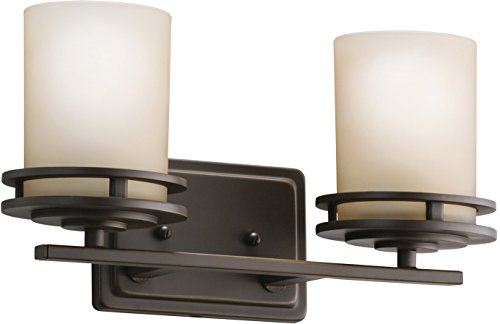 - Kichler 5077OZ Hendrik Vanity, 2 Light Incandescent 200 Total Watts, Olde Bronze