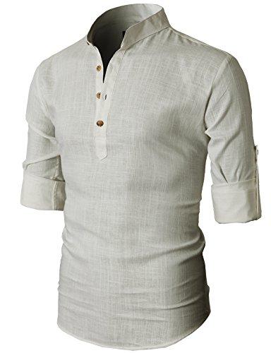 H2H Men's Simple Designed Roll-up Sleeve Popover Shirt BEIGE US M/Asia L (KMTSTL0291)