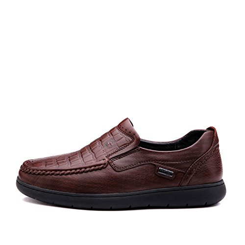 Prossebull Mens Casual Soft Outsole Genuine Leather Shoe (EUR 41, Orange) Red Brown