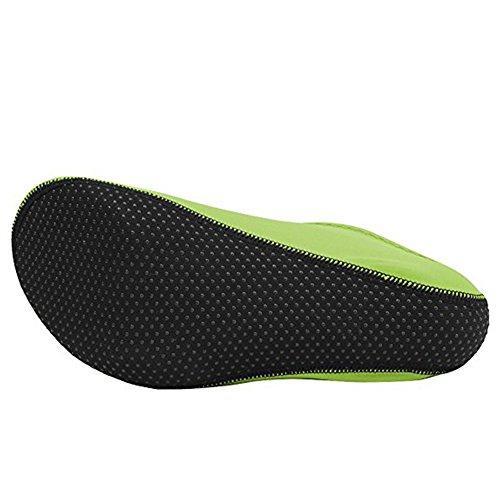 Cior 3ra Versión Mejorada Durable Sole Descalzo Zapatos De Piel De Agua Calcetines De Aqua Para La Piscina De La Playa Arena Swim Surf Yoga Aeróbic Acuático Neon Green