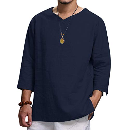 Pure Color T-Shirt for Men,LuluZanm Sale Summer Loose Cotton and Hemp Soft Blouse Fashion Adjustable Sleeve Tops Navy