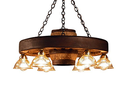 Small Wagon Wheel Chandelier Down Lights