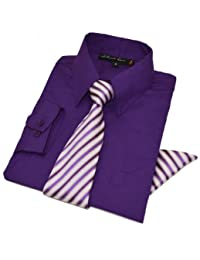 Johnnie Lene Baby Boys Long Sleeve Dress Shirt Tie Handkerchief