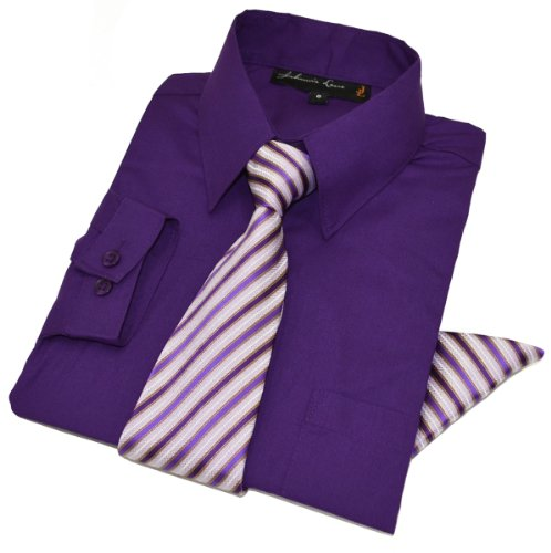 Boys Dress Shirt with Tie and Handkerchief #JL26 (14, Purple)]()