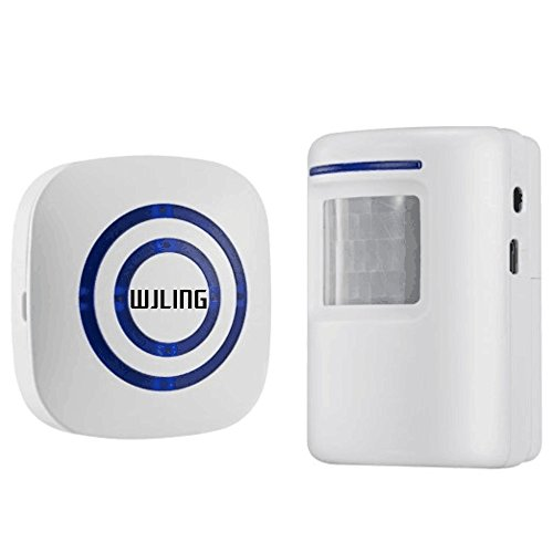 WJLING Home Security Alarm, Wireless Driveway Alert: Infrared Motion Sensor Chime with 1 Receiver and 1 Sensor -38 Chime Tunes - LED Indicators ()