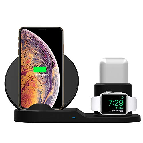 SingDeRing Compatible 3 in 1 Wireless Charger Stand QI Wireless Charging Dock Station Replacement for Apple Watch Series 3/2/1, iPhone Xs/XS MAX/XR/X/8/8 Plus, AirPods (Black)