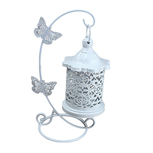 ruiycltd Vintage Iron Hollow Butterflies Candle Holder Stand Bracket Home Bedroom Decor - White