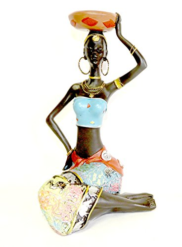 DINY Home Collections African Queen Figurine Sculpture Sitting Lady with Calabash
