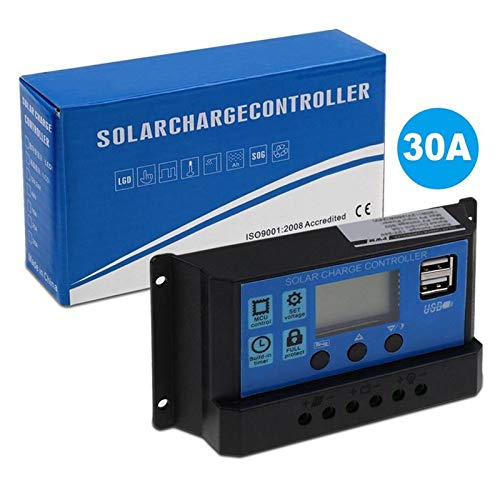 BianchiPamela PWM Solar Panel Regulator 30A 12V-24V Auto Dual USB Solar Charge Controller