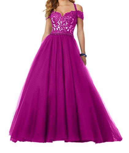 Abendkleider Pink 2018 Prinzess A Promkleider Damen Rock Neu Lang Spitze Abschlussballkleider Linie Charmant panI71q