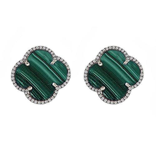daa472c3e4c90 Amazon.com: Malachite Gemstone Clover Stud Earrings Sterling Silver ...