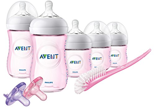 (Philips Avent Natural Baby Bottle Pink Gift Set, SCD206/11)