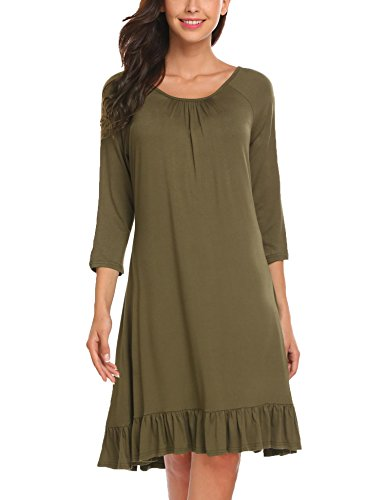 Misakia Womens Basic Simple 3/4 Sleeve Scoop Neck Loose Swing Shift Ruffle Dress (Army Green,L)