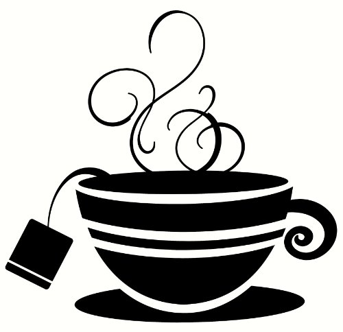 (Wall Décor Plus More WDPM2109 Striped Teacup with Steam Kitchen Wall Art Vinyl Sticker Decal, 12x11.5-Inch, Black)
