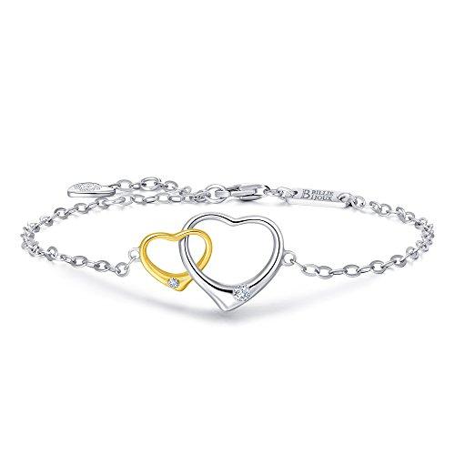 [Billie Bijoux 925 Sterling Silver Gold Plated Double Open Heart Charm Bracelet Ideal Gifts for Women] (Mom Open Heart Charm)