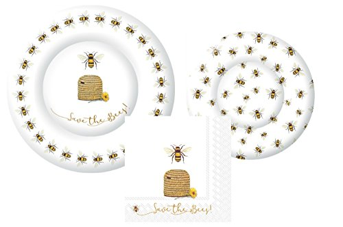 Honey Bee Theme Party Supply Pack! Save the Bees! Bundle Includes Paper Plates & Napkins for 8 - Save Bee