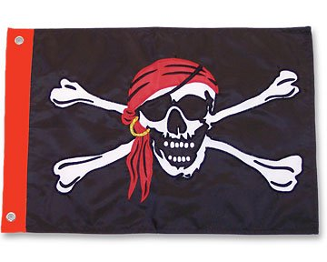 Jolly Roger (Red Scarf) - 3' x 5' Polyester Pirate (Pirate Jolly Roger Flag)