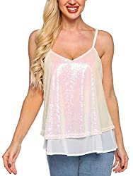 Cream Sequined Sleeveless Camisole Tank Tops