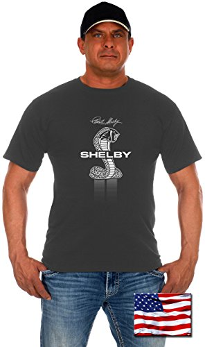 Gt500 Pedal (Mens Shelby Cobra T-Shirt with Exclusive American Flag Sticker (2X, Shelby-Charcaol Gray))