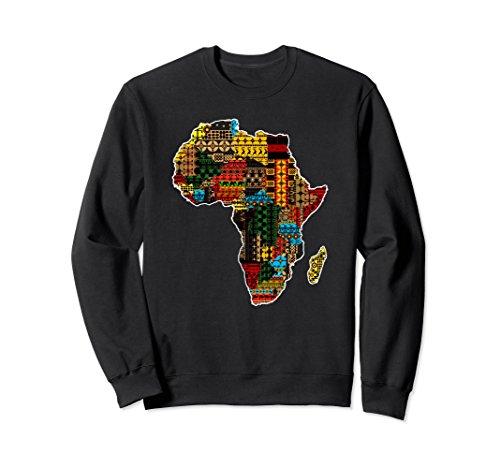 Unisex African traditional ethnic pattern Africa map sweatshirt XL Black