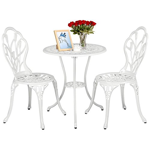 Yaheetech Outdoor Setting Cast Bistro Table Chair Vintage Patio 3-Piece Bistro Set Tulip Design,Aluminum Made, White