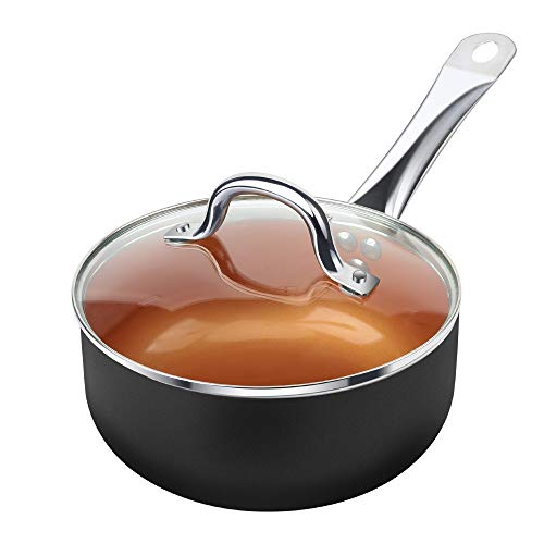 SHINEURI 2 1/2 Quart Nonstick Ceramic Copper Saucepan, Mini Sauce Pan with Lid & Stainless Steel Handle – CompatibleforInduction, Gas,Electric&Stovetops