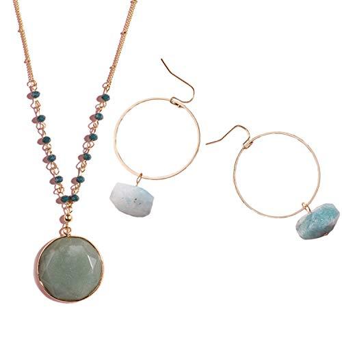 - I'S ISAACSONG Natural Healing Crystal Quartz Pendant Long Chain Gemstone Necklace Raw Stone Dangle Drop Earring Jewelry Set Women (Green Aventurine Necklace Earring Set)