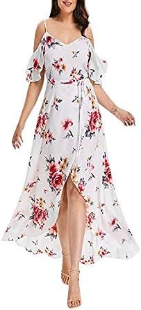 ZODOF Vestidos de Mujer Largo Estampado de Flores con Estampado ...